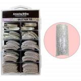 Tipsuri cu sclipici, 100 buc – argintiu (217)