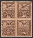 1919 Romania - Eseu 20f Vultur bloc de 4 dantelat, Ocupatia Romana Debretin II