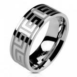 Verigheta din oțel de culoare argintie, suprafață strălucitoare, cheie greacă, 8 mm - Marime inel: 66