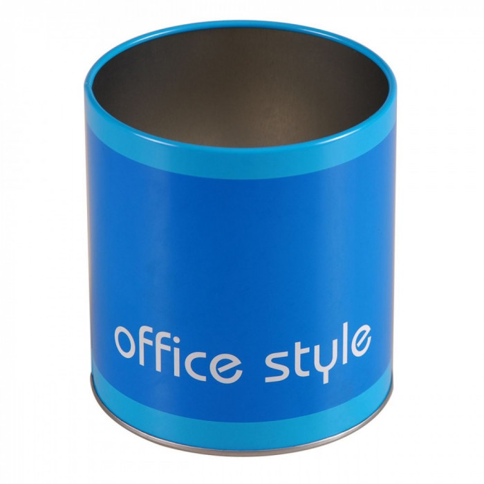 Suport metalic de birou pentru pixuri si creioane, 10×11 cm, albastru