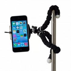 Trepied flexibil, ajustabil pentru telefon / camera cu cap rotativ, Negru