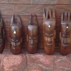 Set 5 masti din lemn masiv - Arta Africana !!!