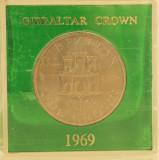 1 crown, 1969 Gibraltar UNC/ necirculata - tiraj mic - 40000 piese - Rara!, Europa, Cupru-Nichel