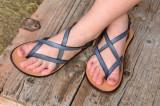 Cumpara ieftin Sandale Dama Model Victory Piele Naturala Albastru Petrol - Curele Complet Ajustabile