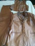 Costum piele bărbaţi 3 piese - sacou, vestă şi pantalon Trussardi Uomo, Din imagine