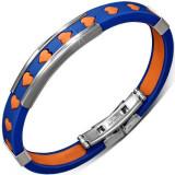 Brățară din cauciuc albastru - inimi portocalii și decorații metalice