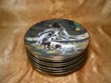 Set 8 farfurii portelan caini de vanatore Hamilton Collection vintage