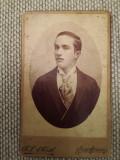 Foto carton CDV veche, A.L. Medl, Turnu Severin, portret domn, nota verso