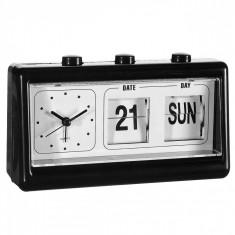 Ceas desteptator cu alarma si calendar - Negru
