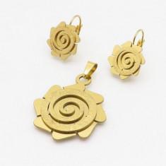 Cercei +medalion   inox placat = 30 ron