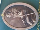 FOTOGRAFIE cu semnatura olografa CAROL...rama argint cu simbol CASA REGALA