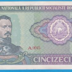 (5) BANCNOTA ROMANIA - 50 LEI 1966 RSR, PORTRET A.I. CUZA, STARE FOARTE BUNA