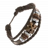 Brățară ajustabilă fabricată din piele sintetică, cruce, mărgele din lemn și oțel