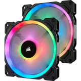 Ventilator pentru carcasa Corsair LL140 RGB LED Static Pressure 140mm Twin Pack