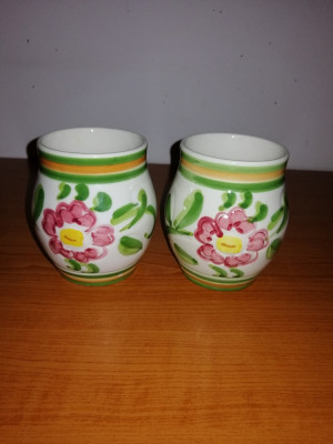 Pereche vaza/cupa ceramica Claudio Bernini 9.5 cm foto