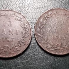 2x 10 Bani 1867 Primul set de monede Carol I Regatul Romaniei!