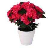 Cumpara ieftin Hortensie Artificiala decorativa, Roz cu frunze Verzi in ghiveci Alb, pentru interior sau exterior, Aspect natural si rezistente la Umiditate, D floar