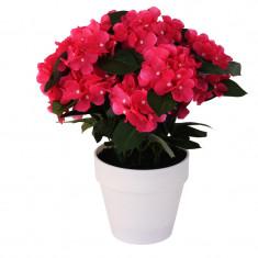 Hortensie Artificiala decorativa Roz cu frunze Verzi in ghiveci Alb pentru interior sau exterior Aspect natural si rezistente la Umiditate D floare 37