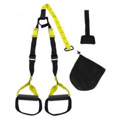 Sistem TRX trainer Home III, 24 x 17 x 9 cm, balamale incluse, maxim 150 kg, Galben/Negru