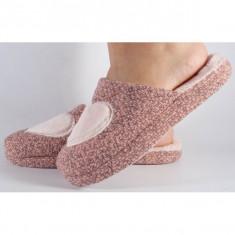 Papuci de casa roz cu negru (cod 418009)