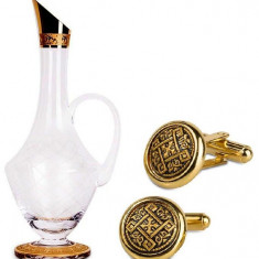 Set Wine Decanter Bordeaux Aur 24K by Credan si Butoni Gold Round by Credan