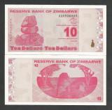 ZIMBABWE 10 DOLARI DOLLARS 2009 UNC [1] P- 94 , necirculata