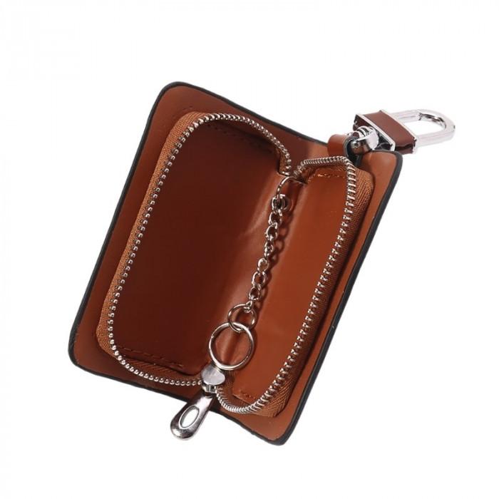 Husa portofel depozitare chei cheie auto, piele, maro, gd1006