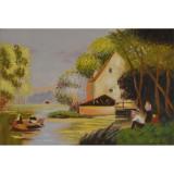 Peisaj cu o casa- pictura in ulei PC-125, Peisaje, Realism