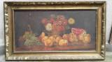 Flori si fructe, natura statica, pictura veche, ulei pe panza de dimensiuni mari