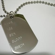 Dog Tag - Placute ID. militare US. - Duble - otel inox. 100%