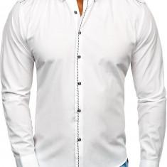 Cămașă elegantă bărbați alb Bolf 6920
