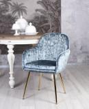 Scaun din lemn masiv negru cu tapiterie din catifea bleu SNA513