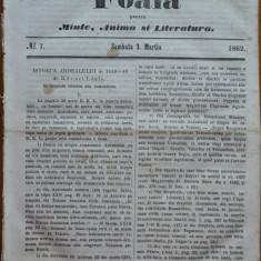 Foaia pentru minte , inima si literatura , nr. 7 , 1862 , poezie Bolintineanu