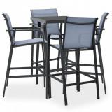 Set mobilier de bar pentru grădină, 5 piese, negru și gri, vidaXL