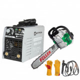 Invertor sudura Elprom 310A, 300Ah, MMA + Drujba pe Benzina, 4.8 CP, 4300W Feller + Manusi de Sudura