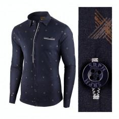 Camasa pentru barbati, bleumarin, flex fit, elastica, casual - Palais Bourbon, L, M, S, XL, Maneca lunga