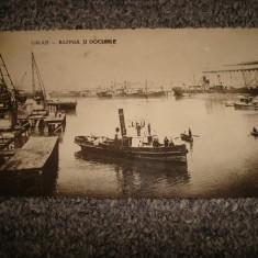 Carte postala/CP/Ilustrata/GALATI bazinul si docurile anul 1937/interbelica, Circulata, Fotografie