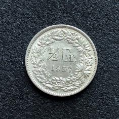 a551 Elvetia 1/2 franc 1957 foto