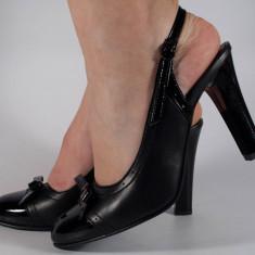 Pantofi eleganti negri piele naturala (cod 758)