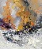 Tablou ulei (30/35)-IARNA, Flori, Impresionism