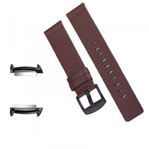Curea piele naturala, adaptoare compatibile Samsung Gear Fit 2, Maro