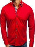 Cămașă elegantă pentru bărbat cu mâneca lungă roșie Bolf 4704-1
