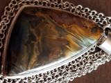 Superb medalion si lantisor TURMALINA  argint masiv 925