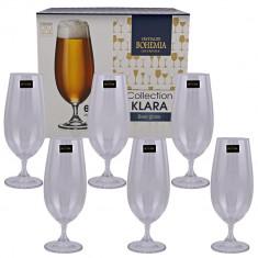 Set 6 pahare bere Bohemia, cristal, 380 ml, Transparent, Colectia Klara