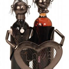 Suport modern de Sticle Vin NAGO model cuplu de indragostiti cu inima LOVE Metal Lucios Maro Negru capacitate 2 Sticla H 32 cm I 24 cm
