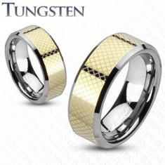 Inel din carbură de tungsten, cu dungi aurii - Marime inel: 57