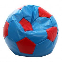 Fotoliu tip puf, imitatie piele, 74 cm, model minge de fotbal, Albastru/Rosu, Oem