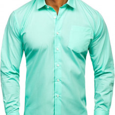 Cămașă elegantă bărbati verde Bolf 0003