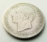 SPANIA - 2 Pesetas 1883 MS M - Alfonso XII - Argint, Europa