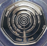 50 pence 2021 Marea Britanie, John Logie Baird, Brilliant unc, Coincard, Europa
